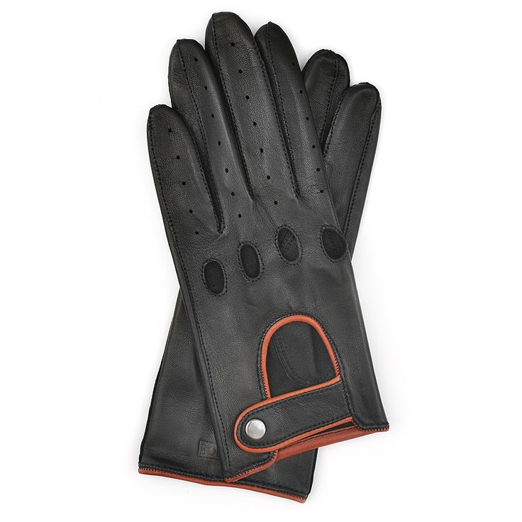 Driving Gloves for Woman in Black Leather with Cognac Accents| Bocane