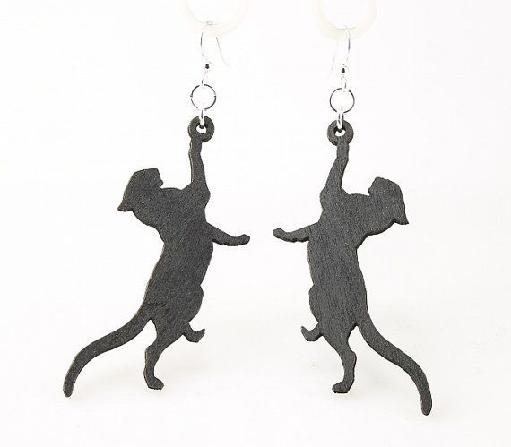 Touch not the cat bot a glove!--Aurelas-- Cat Being Playful  Wood Earrings by GreenTreeJewelry on Etsy, $12.95