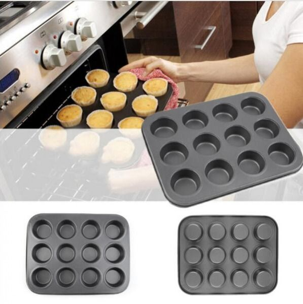 Mini 12 Cups Pan Muffin Cupcake Bake Cake Mould 0.5mm Steel Mold Bakeware #Unbranded