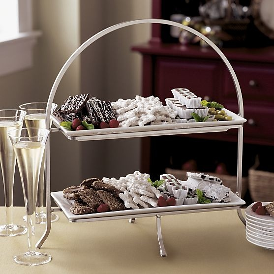 An inviting platter!  Cambridge 2-Tier Server with Plates in Specialty Serveware | Crate and Barrel