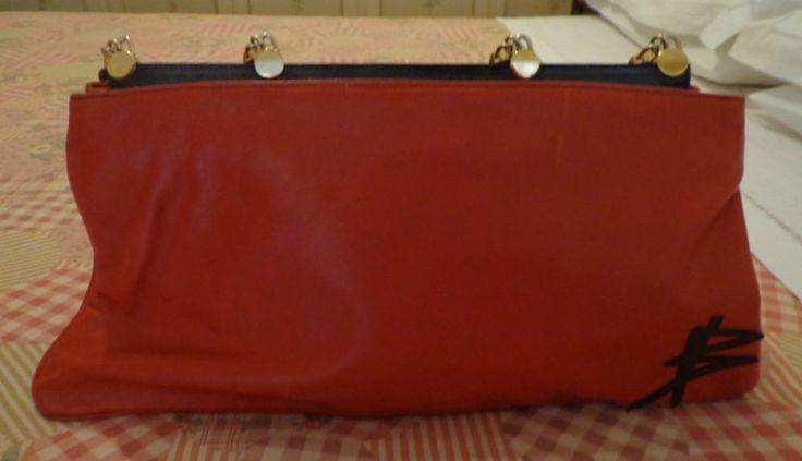 RED BAG - SAC ROUGE - BORSA ROSSA - VINTAGE vera pelle anni 60 - ORIGINALISSIMA