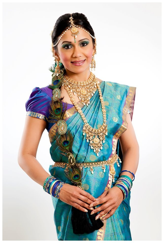South Indian Bridal Hair - Peacock feathers