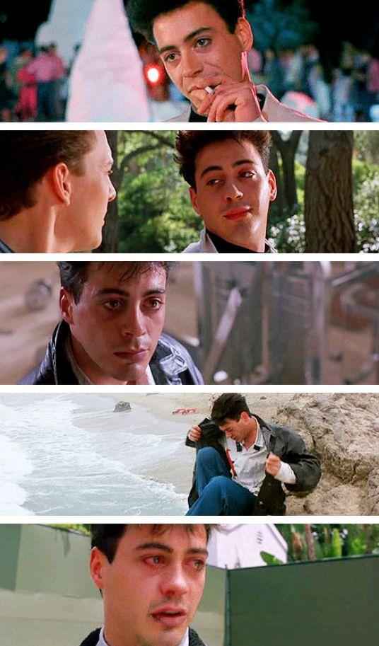 "Robert Downey Jr. in ""Less Than Zero"" (1987), filmed when he was 21."
