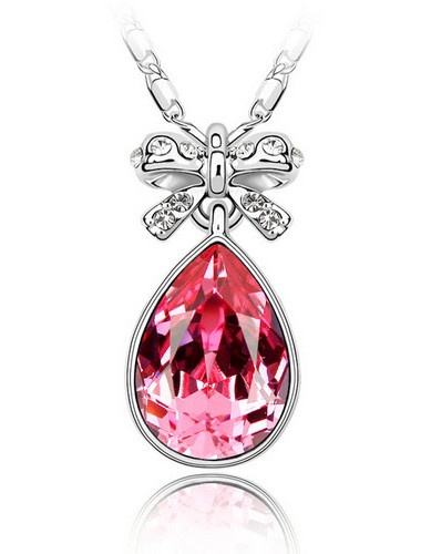 Fashion Crystal Water Drop Shape Pendant With Necklace