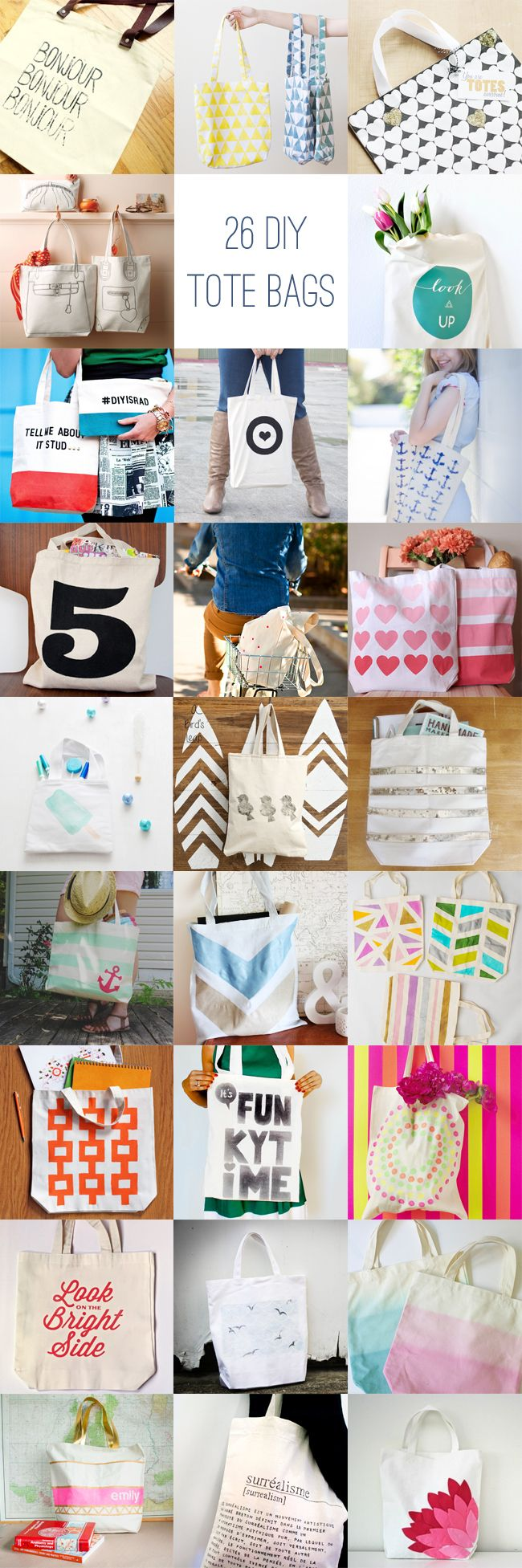 26 DIY Tote Bag Ideas with links to tutorials! This blogger recommends $1.99 Hobby Lobby bags. Cute, inexpensive and easy for little gifts/ gift bags/ reuse able grocery bags etc.