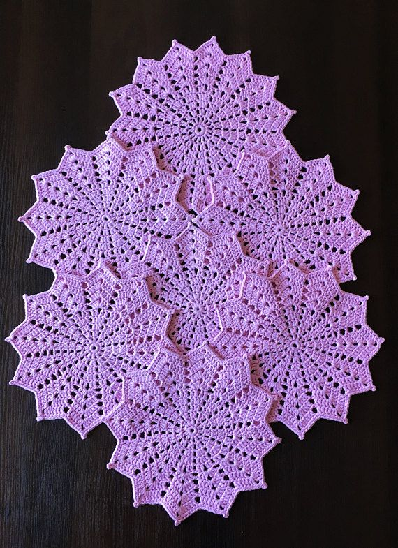 Crocheted doily  Table mat  Table topper  Lace wipes