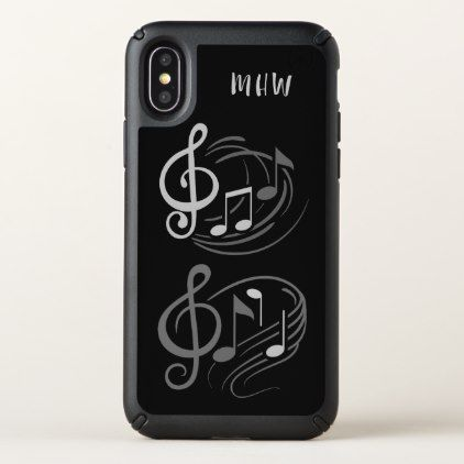 Musical Notes custom monogram phone cases - black and white gifts unique special b&w style