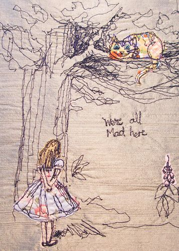 Alice in wonderland illustration in beautifully embroidery. I really love embroidering unexpected images freehand.