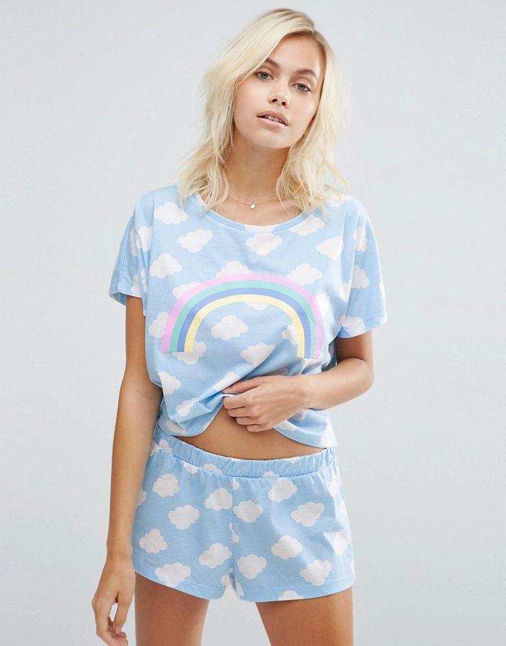 Image 1 - ASOS - Ensemble de pyjama t-shirt et short motif arc-en-ciel et nuage
