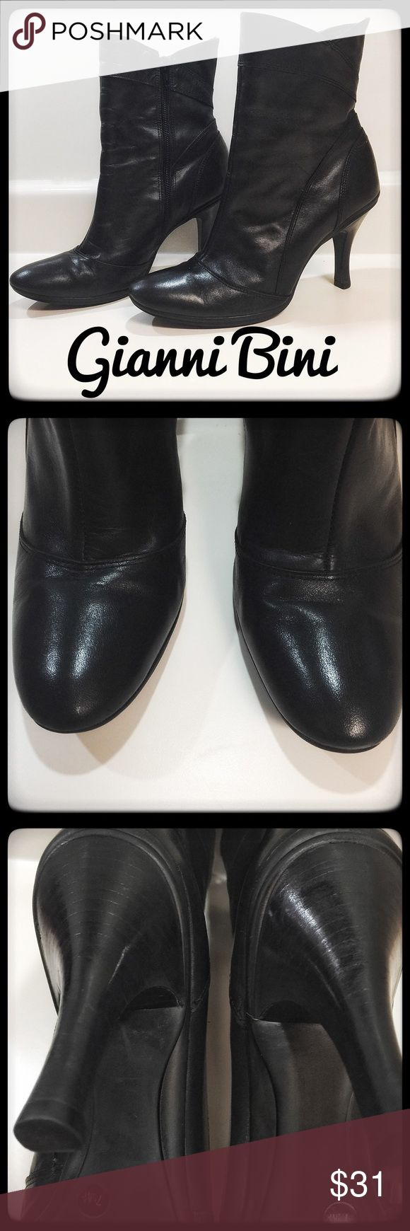Gianni Bini 💯 Black Leather Short Boots Black short leather boots (booties) by Gianni Bini. The design is a classic heeled one, with the designer edge of a slightly flared top. Truly beautiful design with the zest Gianni Bini is known for. These are in great condition and ready to enjoy! Gianni Bini Shoes Ankle Boots & Booties