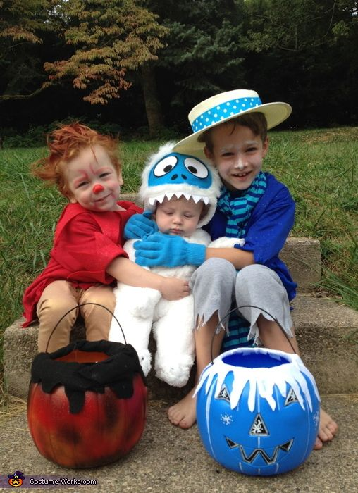 The Heat Miser, the Snow Miser and baby Bumble Snow Monster Costume - Halloween Costume Contest via @costume_works