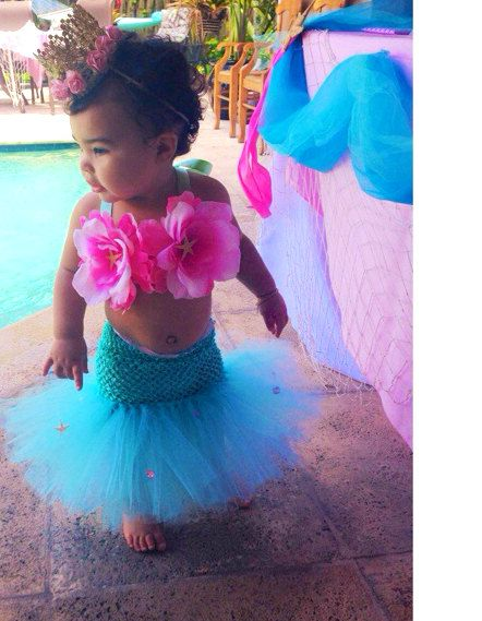 Mermaid Tutu, Mermaid, Little Mermaid, Mermaid Costume, Ocean Theme, Beach Birthday, Mermaid Party, Baby Bikini, OOC, Halloween Costume