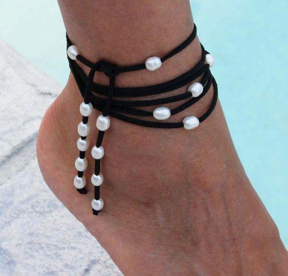 FRESHWATER Pearl Boho Multi Wrap Anklet / Bracelet