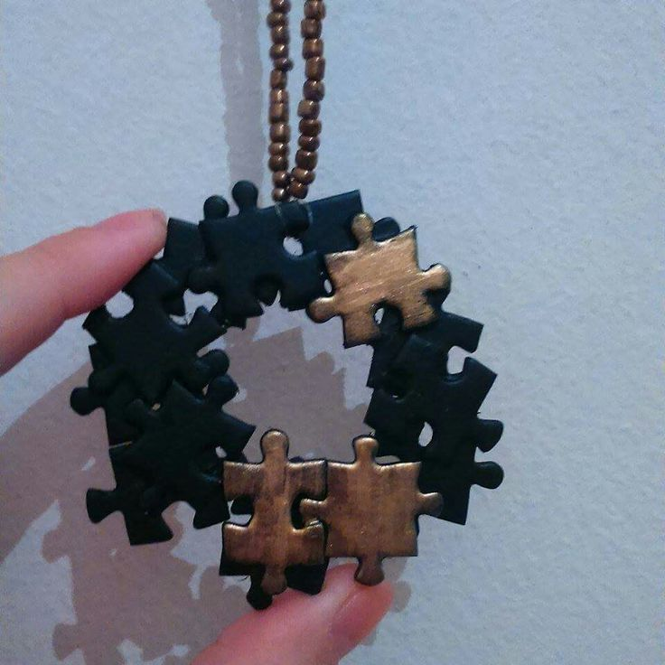 Long necklace from real puzzle pieces..