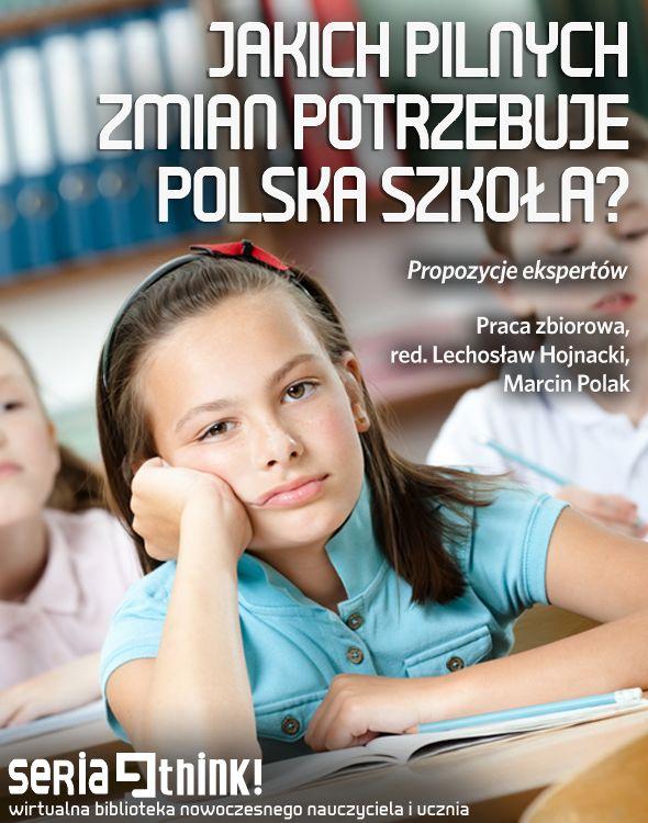 Unikalne spojrzenie na problemy i wyzwania polskiej szkoły. Dwadzieścia jeden głosów (oczko) - osób pracujących w różnych instytucjach: nauczycieli, urzędników, działaczy NGO, profesorów, przedsiębiorców, rodziców. Jakie zmiany uznają za pilne? Coś ich może łączyć? Więcej: https://edustore.eu/publikacje-edukacyjne/74-jakich-pilnych-zmian-potrzebuje-polska-szkola-propozycje-ekspertow.html