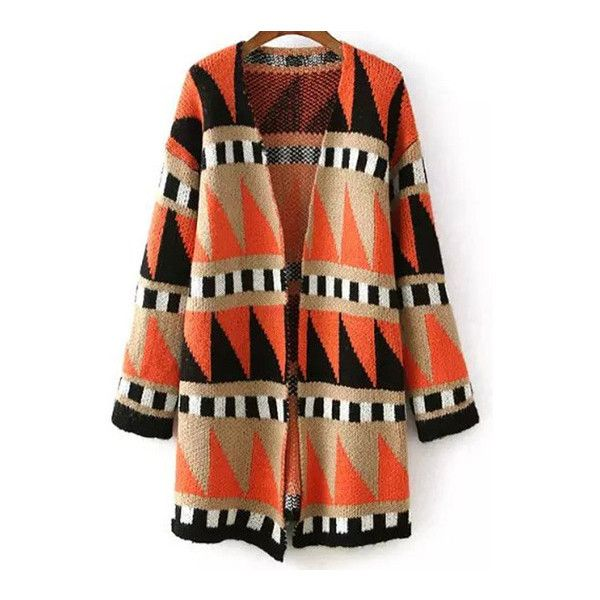 SheIn(sheinside) Colour Long Sleeve Geometric Print Cardigan ($20) ❤ liked on Polyvore featuring tops, cardigans, multicolor, brown cardigan, loose tops, long sleeve cardigan, geometric print cardigan and brown tops
