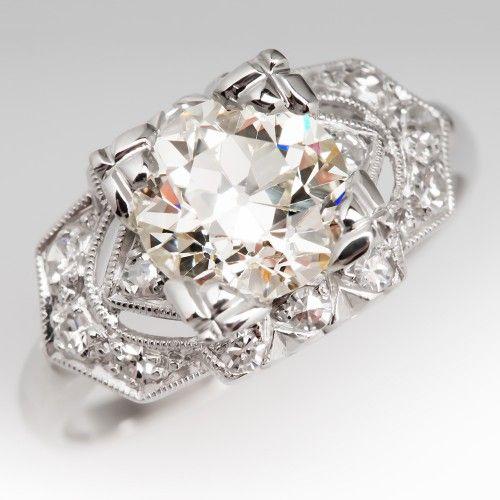 1930's Art Deco Diamond Engagement Ring Platinum, Nearly 2 Carats