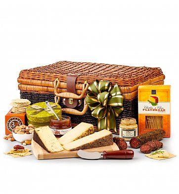 Artisan Cheese Hamper: Gourmet Gift Baskets - Celebrated, handcrafted cheeses and an upscale selection of gourmet foods for pairing.