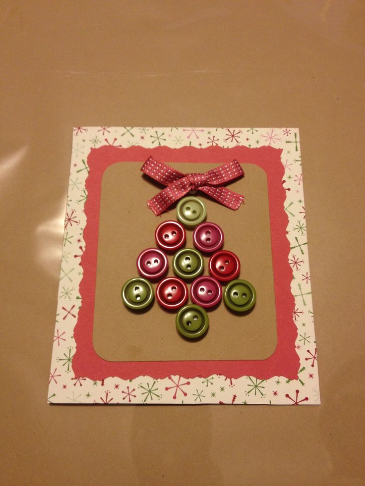Homemade christmas card with buttons stuff i make for Pinterest diy christmas cards