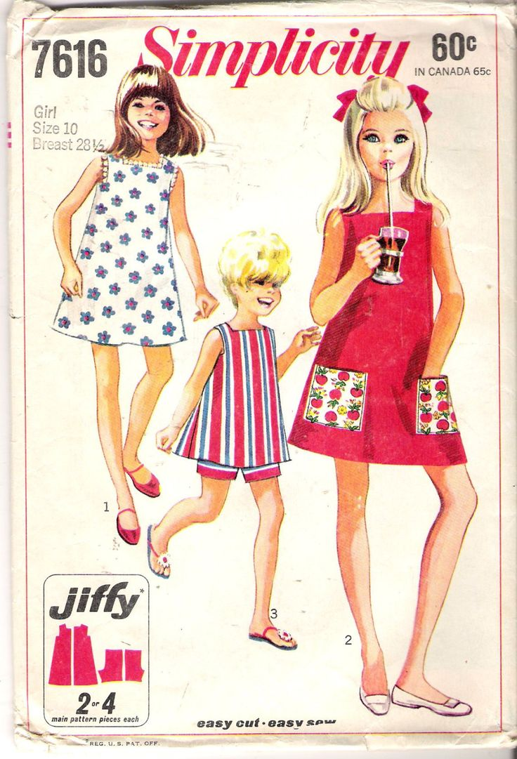 670 best 60s dress patterns 8 images on pinterest vintage girls summer dress and shorts pattern simplicity 7616 vintage childs sewing pattern size 10 tweens jeuxipadfo Choice Image