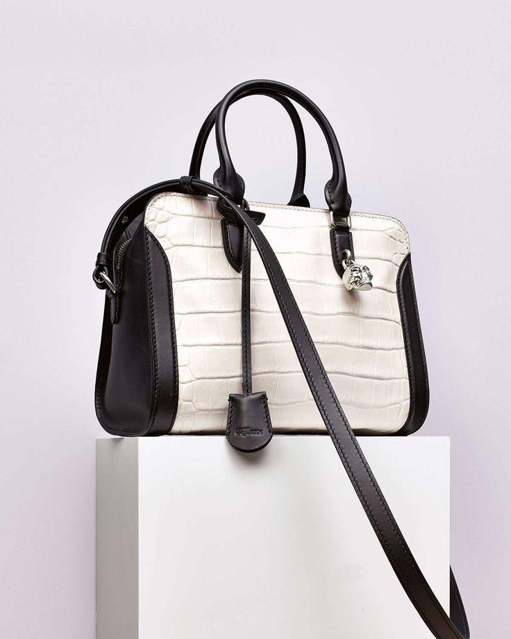 cloe handbag - faye medium bag in crocodile embossed calfskin