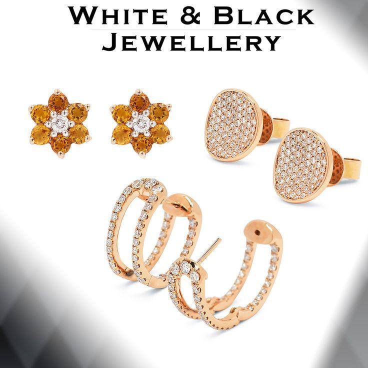 Rosegold earrings set with diamonds and precious gemstones - Rose arany fülbevalók géymántokkal és színes drágakövekkel