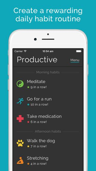 Productive - Habit tracker - Daily routine & reminders for goals & resolutions by Jaidev Soin  Zesty tips for apps, books, podcasts, make up and more! Check it out. #Zestytips  http://www.zestdose.com/#!Zesty-Recommendations-1/c21kp/571bd80b0cf2331db0fda2b1