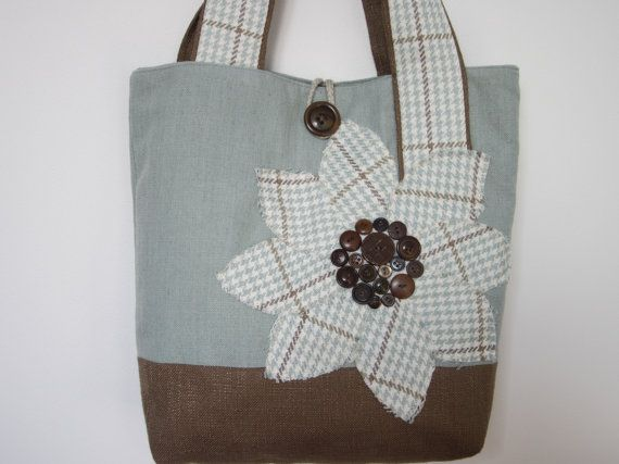 Womens Brown Blue Handmade Fabric Tote by BerkshireCollections - so cute, a Spa Blue and Brown Tote Bag