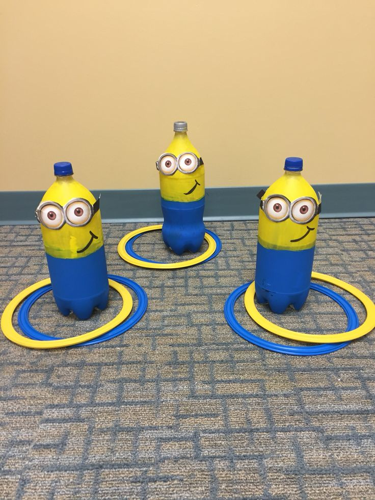 Homemade minions made for  ring toss (as seen on emiliehomemade.com) Used for articulation and language therapy. Speech pathology activities.