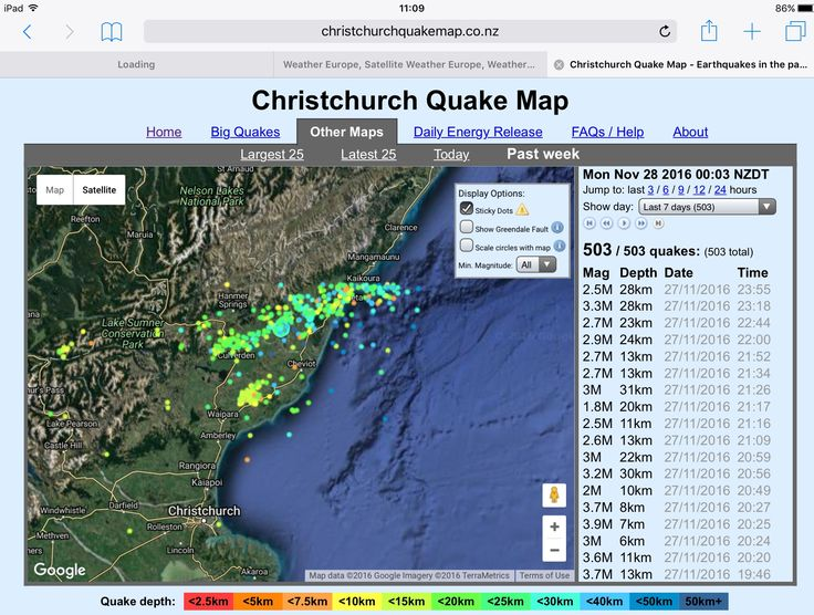 Screenshot of Christchurch Quake map for today 27NOV2016. This shows 503 Quakes over the past week. jp.