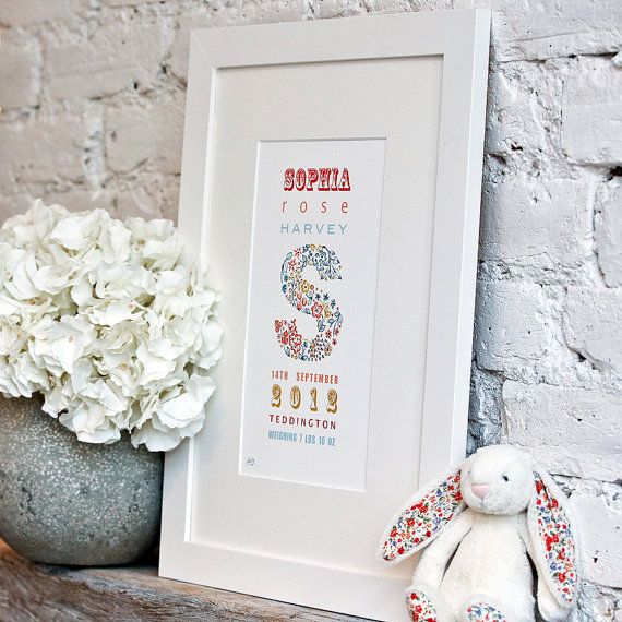 Birth Announcement Personalised Baby Gift baby by LittleRagsmith