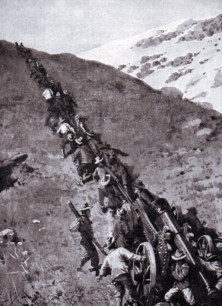 Boers hauling a heavy gun up a mountain