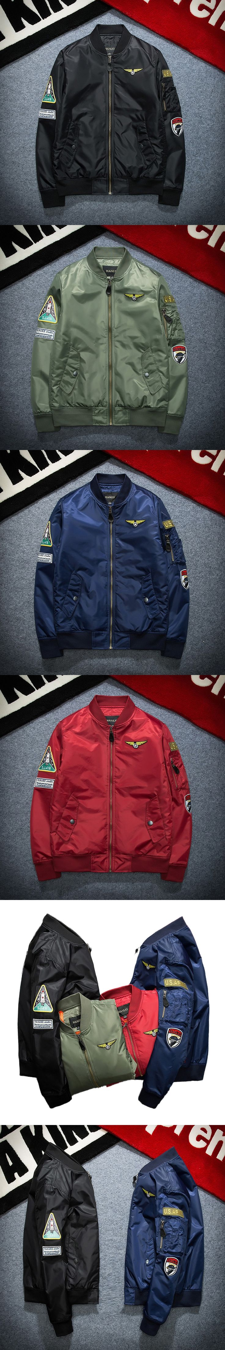 New Street fashion Men Bomber MA1 jacket Retro Embroidery Badge Anarchy Solid color Coat Black Red Army green Dark blue