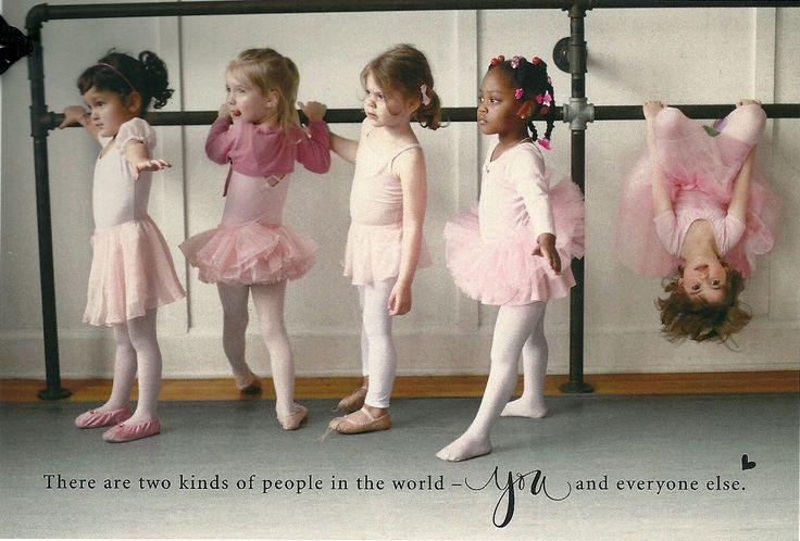 LOL. I was like the upside down one! I switched to gymnastics after about four ballet lessons. ;)