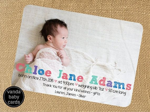 31 best images about Birth Announcement   Thank You Cards on ...