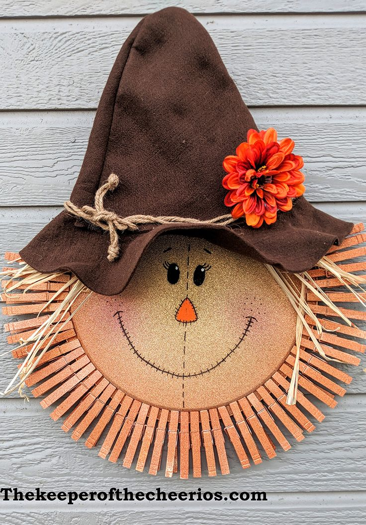 Scarecrow Pizza Pan Clothespin Wreath Wreath Crafts