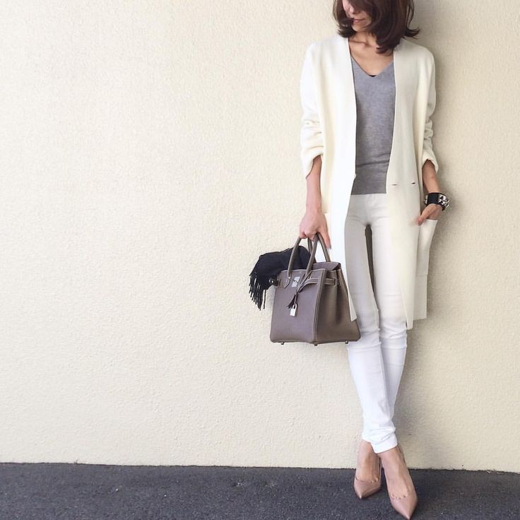 white grey and nude outfit