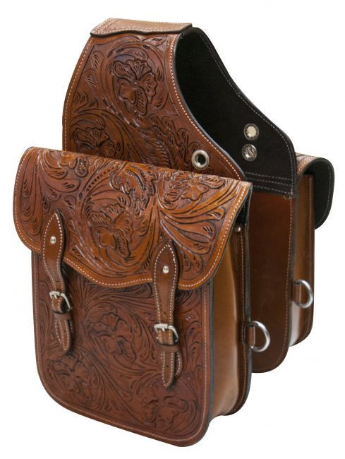 "Showman ® Tooled leather saddle bag. This saddle bag features floral tooled leather and comes equipped with front D rings. Double roller buckles for security. Bag measures 10"" x 10"" x 3"" with a 4"" gus"
