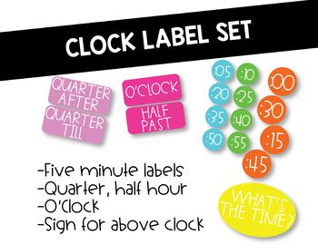 Bright Colored Clock Labels by My 2nd Grade Life | TpT