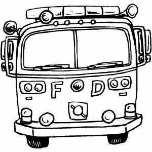 fire truck front coloring sheet