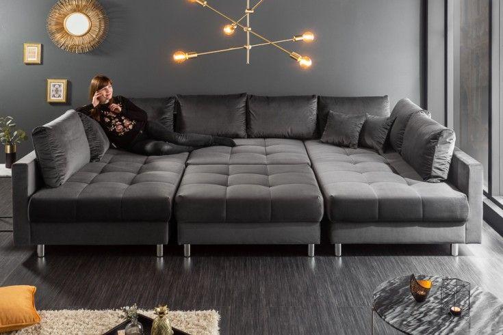 Moderne Xxl Wohnlandschaft Kent 305cm Grau Samt Federkern Inkl Hocker Und Kissen Riess Ambiente De Wohnlandschaft Wohnen Couch Grau