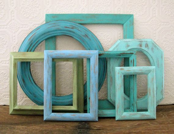 beach picture frame set of 7 openempty blue wall decor