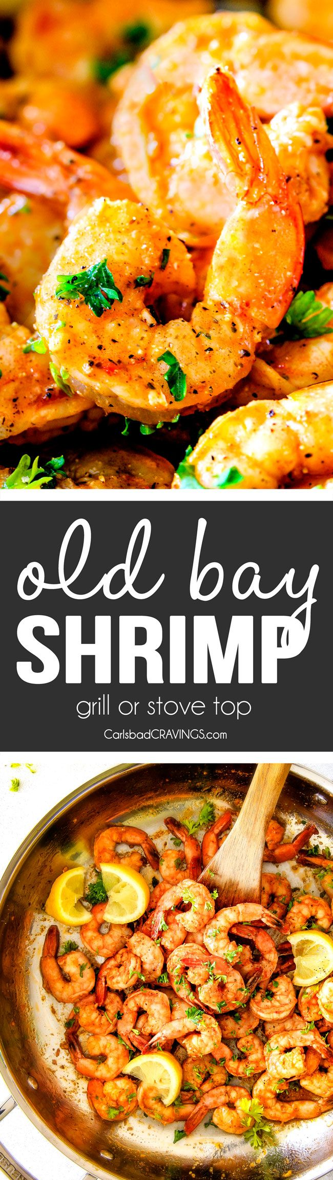 30 Minute quick and easy Old Bay Shrimp (Grill or Stove top) is so juicy and flavorful and the homemade Cocktail Sauce is amazing!  Serve it as an appetizer or add some sides and call it dinner!
