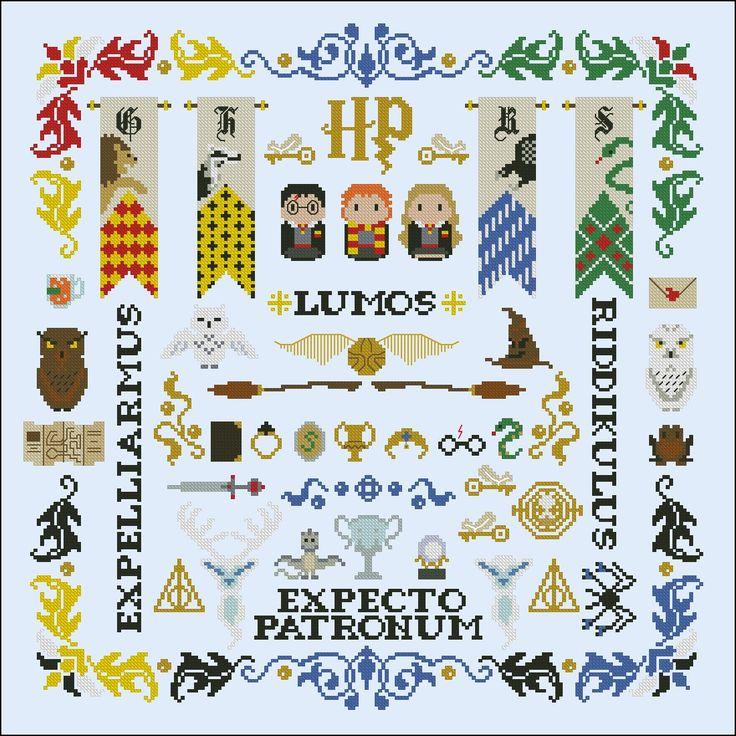 Cross Stitch Harry Potter pillow sampler