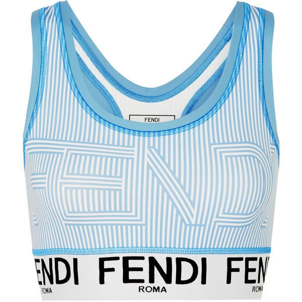 Fendi Striped stretch sports bra ($250) ❤ liked on Polyvore featuring activewear, sports bras, racer back sports bra, fendi, blue sports bra, striped sports bra and racerback sports bra