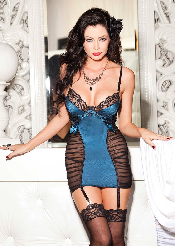 Shirley of Hollywood Satin & Chopper Bar Lace Chemise 25233 £49.99  This chemise has under wired cups, Cross hatch net overlay over satin, slimming rushed body. #chemise #shirleyofhollywood #lingerie