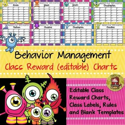 TeachToTell  from  BEHAVIOR MANAGEMENT EDITABLE CLASS REWARD CHARTS Back to School  on TeachersNotebook.com -  (112 pages) - This resource comprises of 34 editable Reward Charts, 33 editable class labels and 10 editable single page templates that can be used to write class rules or anything else.