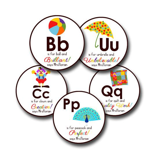 Alpha chart personalized stickers for teachers from esty