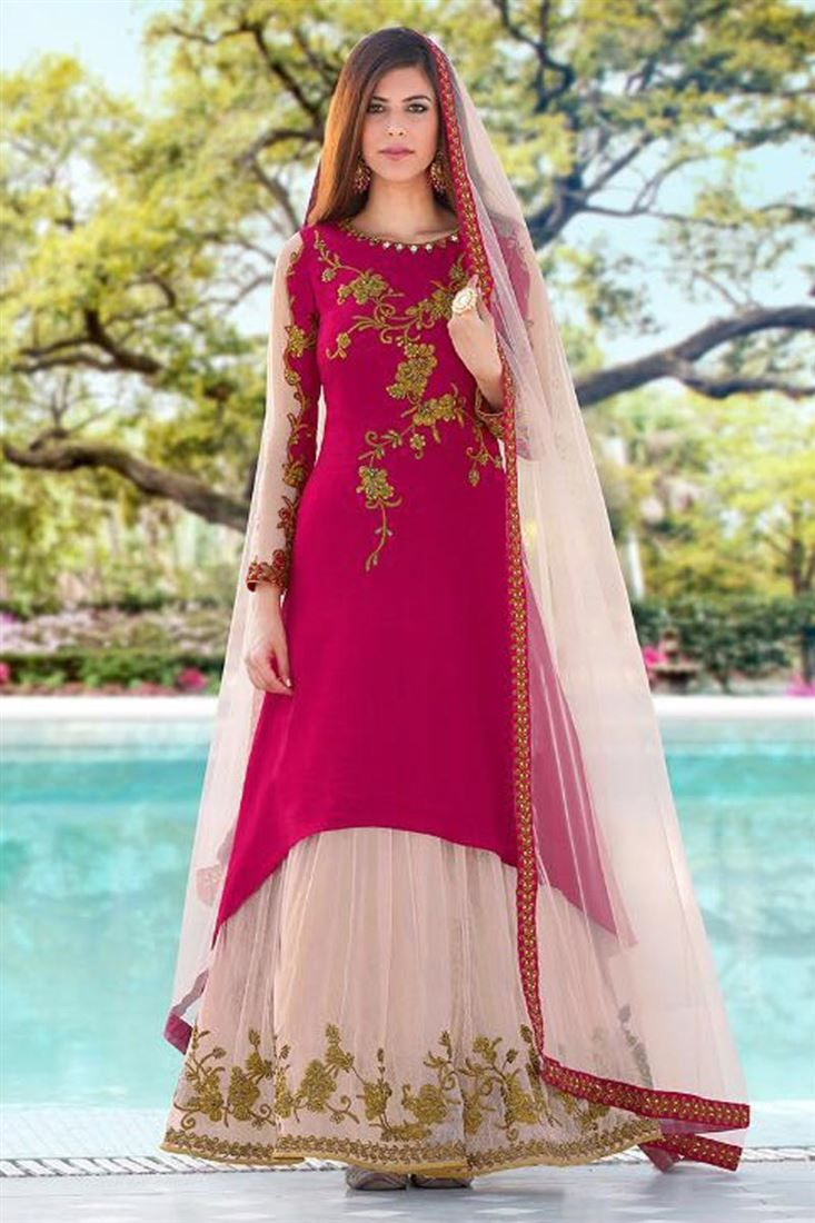Online Shopping of Art Silk Embroidery Work Occasion Wear Anarkali Salwar Kameez from SareesBazaar, leading online ethnic clothing store offering latest collection of sarees, salwar suits, lehengas & kurtis