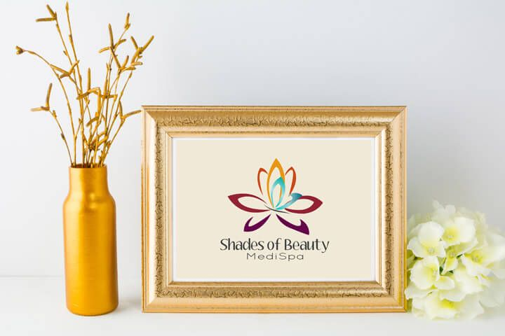 logo, logo concept, spa logo, medi spa logo terv, lotus flower, lótusz virág pillangóval